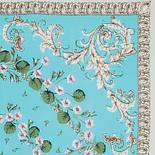 Пармские фиалки 1382-2, павлопосадский платок (крепдешин) шелковый с подрубкой, фото 3