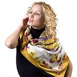 Фиджи 1137-1, павлопосадский платок (атлас) шелковый с подрубкой, фото 3