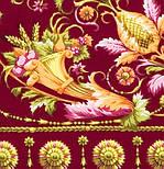 Песня ветра 1337-8, павлопосадский платок (шаль, крепдешин) шелковый с шелковой бахромой, фото 2