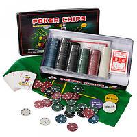 Настольная игра M 2776  покер,300фиш(с номин-5вид,пласт),2к.карт,сукно,в кор-ке(жел),33-19-5см