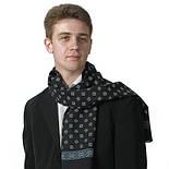 Лорд 935-18, павлопосадский шарф (кашне) шерстяной  двусторонний мужской с осыпкой, фото 2