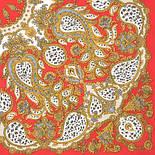 Танго с леопардом 1415-5, павлопосадский платок (на голову, шейный) хлопковый (батистовый) с подрубкой, фото 2