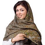 Сандаловые острова 1274-10, павлопосадский шарф шерстяной  с шелковой бахромой, фото 2