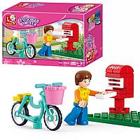 Детский Конструктор Розовая Мечта Велосипедист M 38-B 0516, Лего Велосипедист Почта 0516