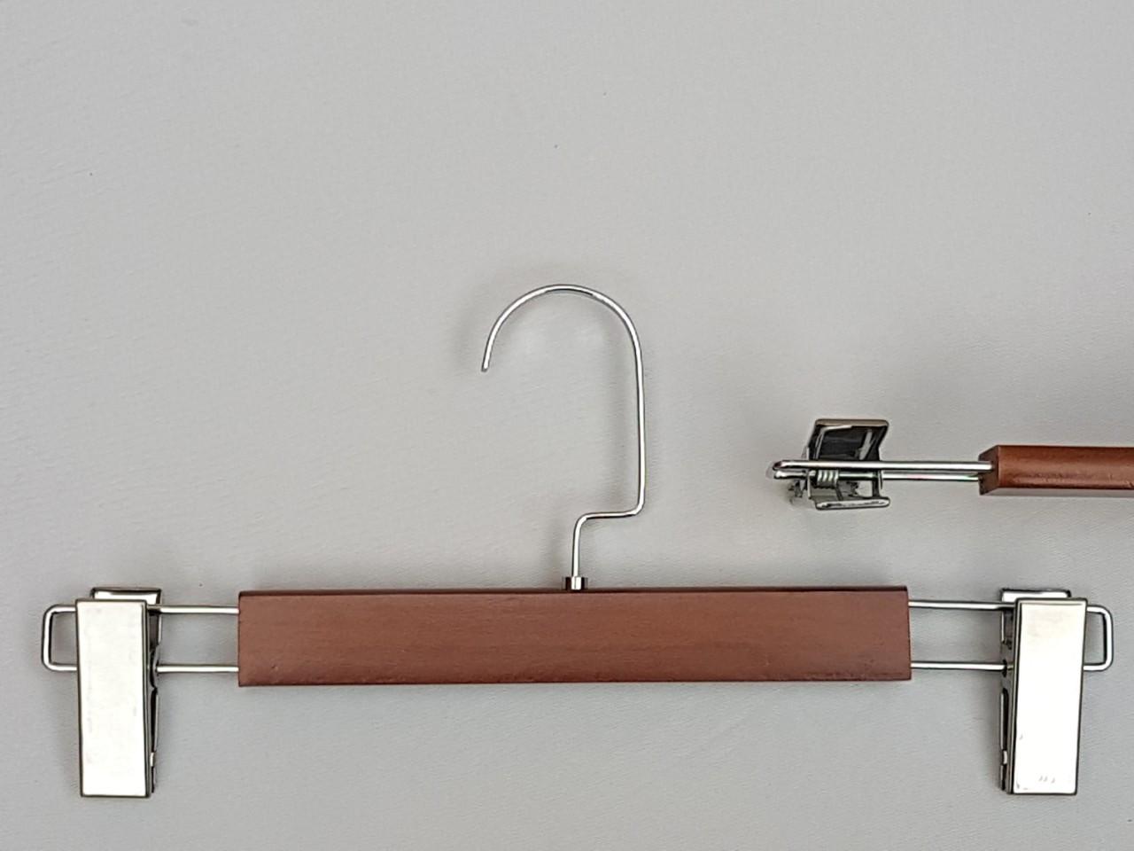 Плічка довжиною 32 см вішалки дерев'яні з прищіпками затискачами для брюк і спідниць коричневого кольору