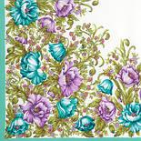 Цветущие маки 1485-2, павлопосадский шейный платок (крепдешин) шелковый с подрубкой, фото 2