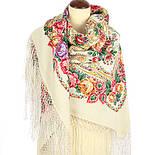 Мороз и солнце 1569-1, павлопосадский платок (шаль) из уплотненной шерсти с шелковой вязанной бахромой, фото 3