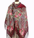 Час свидания 1570-7, павлопосадский платок шерстяной  с шелковой бахромой, фото 3