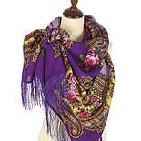 Час свидания 1570-15, павлопосадский платок шерстяной  с шелковой бахромой, фото 2