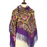 Час свидания 1570-15, павлопосадский платок шерстяной  с шелковой бахромой, фото 3