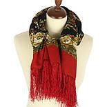 Молодушка 1511-4, павлопосадский платок шерстяной  с шелковой бахромой, фото 2