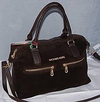 Женская коричневая замшевая сумка Michael Kors, Майкл Корс, MK