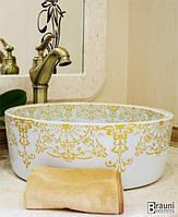 Круглая керамическая раковина умывальник в ванную комнату с рисунком 0017