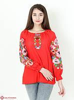 Шикарная домотканая блуза в красном цвете для девушек