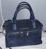 Женская синяя замшевая сумка Mісhаеl Коrs, в стиле Майкл Корс, MK ( код: IBG046Z1 )