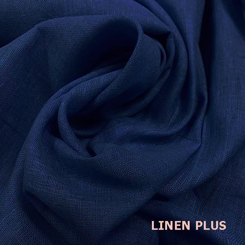 Синяя натуральная льняная ткань, 100% лен, цвет 443