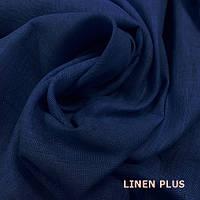 Синяя натуральная льняная ткань 100% лен, цвет 443