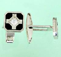 Срібні запонки з емаллю та цирконом