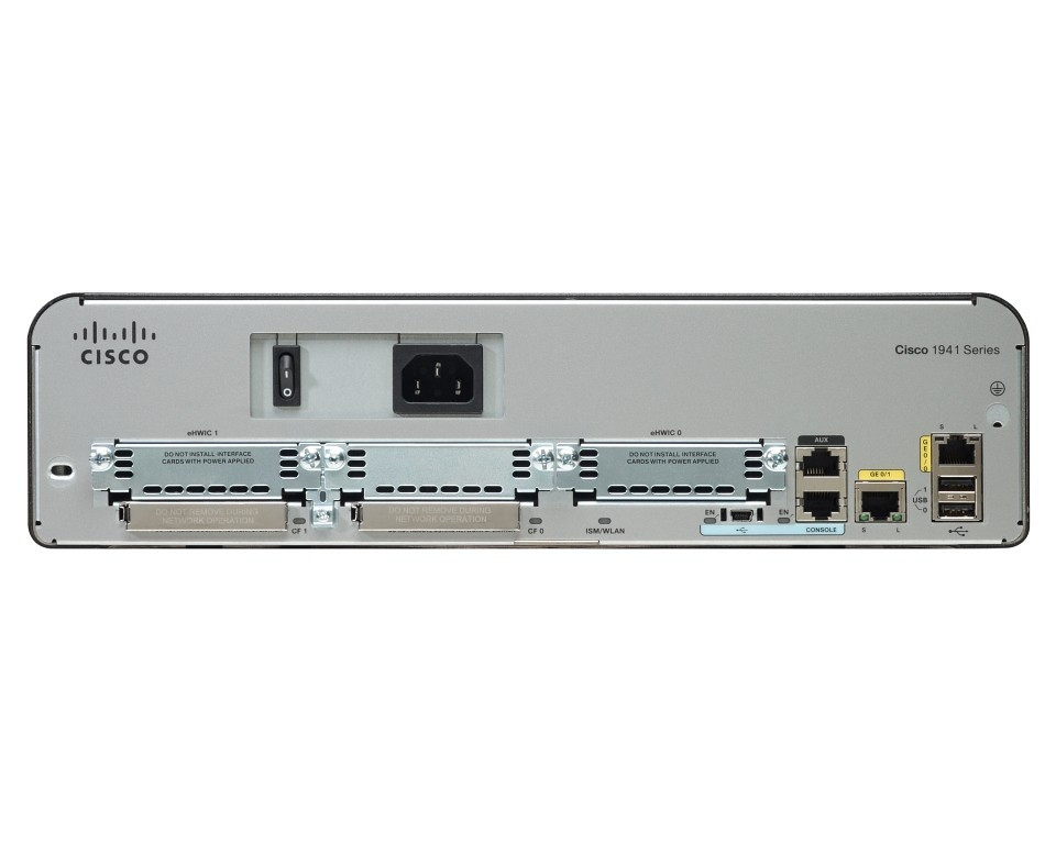 Маршрутизатор Cisco 1941 Security Bundle w/SEC license PAK (CISCO1941-SEC/K9)