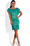 Ажурное платье с открытыми плечами бирюзовое