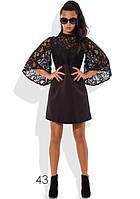 Кружевное коктейльное платье черное