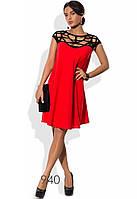 Красно-черное платье из шифона