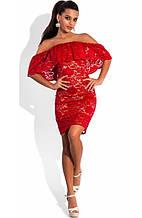 Ажурне плаття з відкритими плечима червоне
