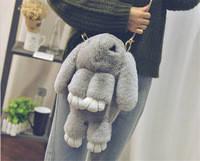 Детский рюкзак-сумка из натурального меха кролика rex Серый