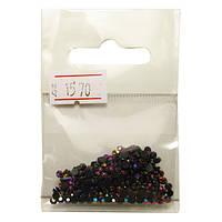 Камни акриловые Черные с Розово-Фиолетовым отливом для ногтей в наборе, размер 3 мм