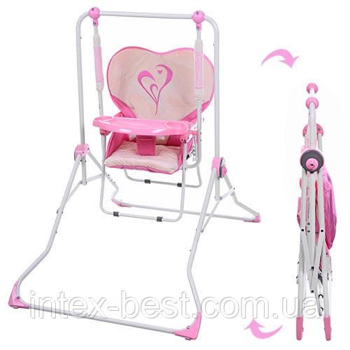 Детская качеля-стульчик BAMBI NA 05-8 плюшевый чехол (розовая)