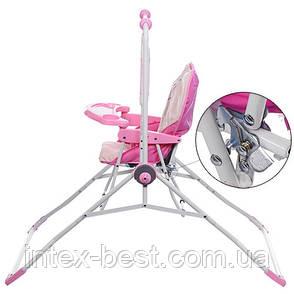 Детская качеля-стульчик BAMBI NA 05-8 плюшевый чехол (розовая), фото 2