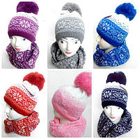 Шапка+шарф для девочки зимний
