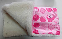 Муфта на коляску санки на овчине розовая