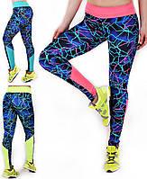 Лосины, леггинсы для фитнеса и спорта модель Молния со вставкой!