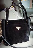 Женская черная замшевая сумка Prada, Прада