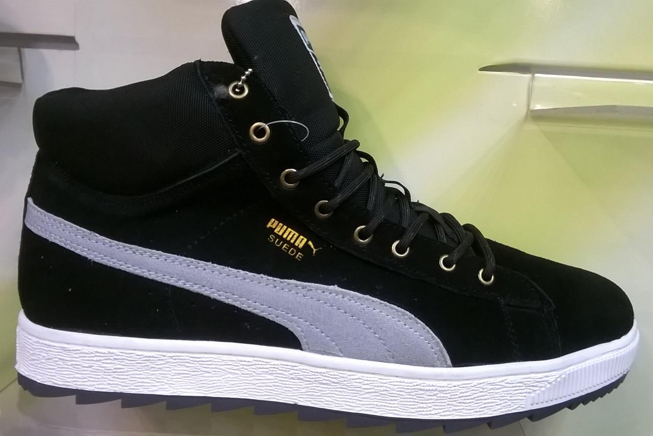 Зимние мужские кроссовки Puma Suede Winter черные с серым