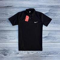 Футболка мужская Nike поло молодежная, классическая (черная), ТОП-реплика