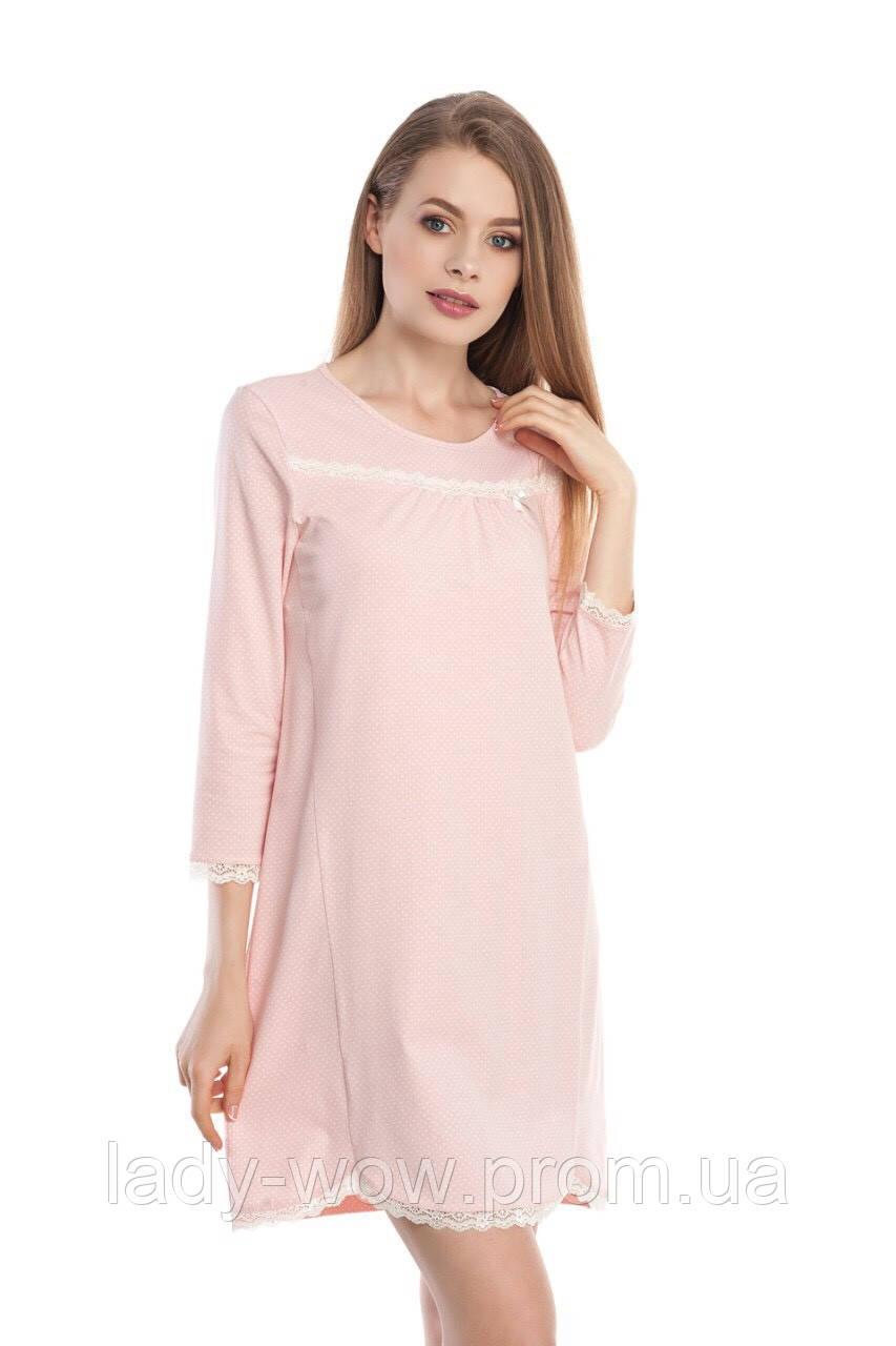Ночная сорочка женская ELLEN в горошек с кружевом Размер XL