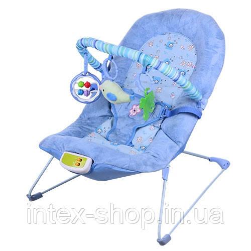 Детский шезлонг-качалка Bambi 30606 с вибрацией (голубой)