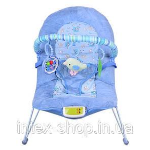 Детский шезлонг-качалка Bambi 30606 с вибрацией (голубой), фото 2