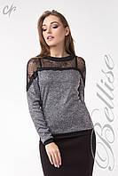 Женский трикотажный блузон с кружевным верхом Серый, фото 1