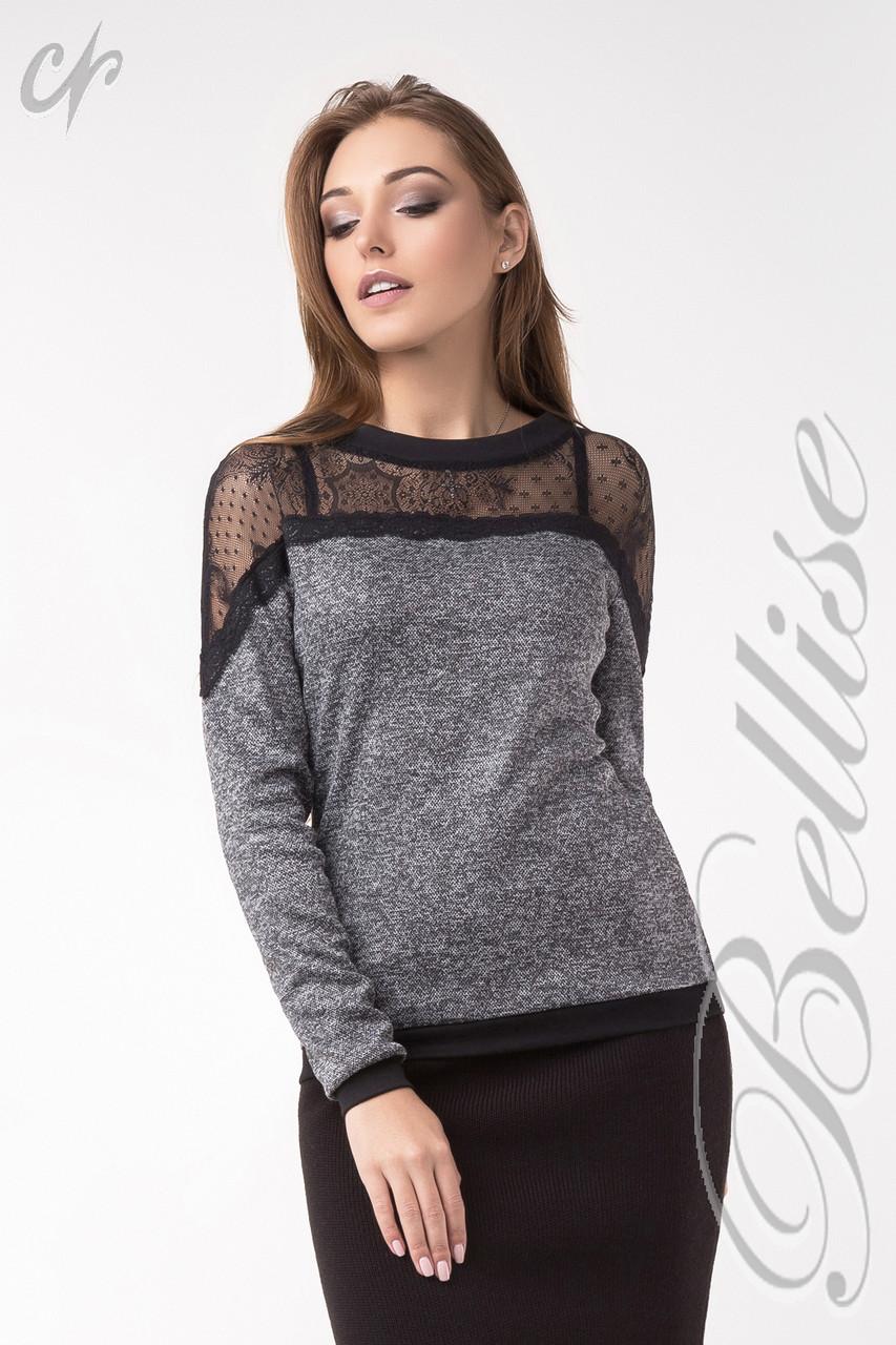 Женский трикотажный блузон с кружевным верхом Серый