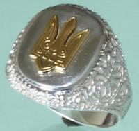 Срібний перстень без вставок з позолотою