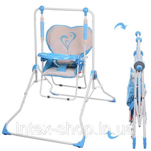 Дитяча гойдалка-стільчик для годування BAMBI NA 05-4 плюшевий чохол (синя)
