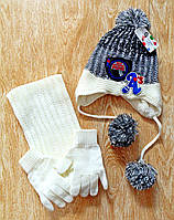 Комплект детский шапка, шарф, перчатки AS
