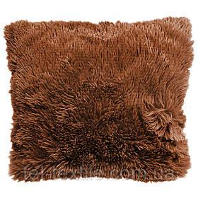Наволочка с длинным ворсом, коричневая (50х50)