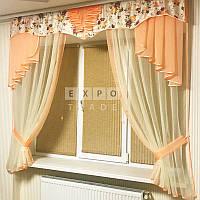 Набор тюль шторы и ламбрекен Rosa2 (персик), фото 1