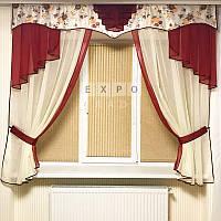 Набор тюль шторы и ламбрекен Rosa3 (бордо), фото 1