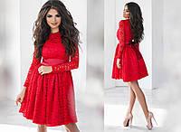 Красивое платье с набивным гипюром красное,черное ,бордо