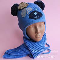 Детский вязаный комплект шапка и шарф на 1-3 года.